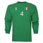 Mexico 2014 FIFA World Cup Brazil(TM) Men's LS Number 4 T-Shirt (Green)