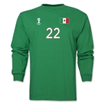 Mexico 2014 FIFA World Cup Brazil(TM) Men's LS Number 22 T-Shirt (Green)