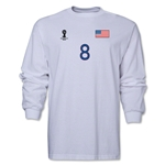 USA 2014 FIFA World Cup Brazil(TM) Men's LS Number 8 T-Shirt (White)