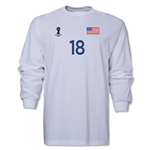 USA 2014 FIFA World Cup Brazil(TM) Men's LS Number 18 T-Shirt (White)