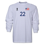USA 2014 FIFA World Cup Brazil(TM) Men's LS Number 22 T-Shirt (White)