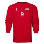 USA 2014 FIFA World Cup Brazil(TM) Men's LS Number 9 T-Shirt (Red)