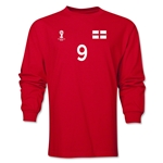 England 2014 FIFA World Cup Brazil(TM) Men's LS Number 9 T-Shirt (Red)
