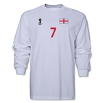 England 2014 FIFA World Cup Brazil(TM) Men's LS Number 7 T-Shirt (White)