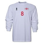 England 2014 FIFA World Cup Brazil(TM) Men's LS Number 8 T-Shirt (White)