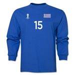 Greece 2014 FIFA World Cup Brazil(TM) Men's LS Number 15 T-Shirt (Royal)