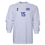 Greece 2014 FIFA World Cup Brazil(TM) Men's LS Number 15 T-Shirt (White)