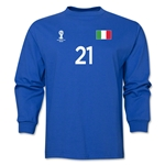 Italy 2014 FIFA World Cup Brazil(TM) Men's LS Number 21 T-Shirt (Royal)