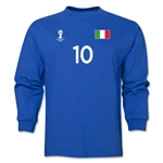 Italy 2014 FIFA World Cup Brazil(TM) Men's LS Number 10 T-Shirt (Royal)