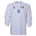 Italy 2014 FIFA World Cup Brazil(TM) Men's LS Number 9 T-Shirt (White)