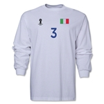 Italy 2014 FIFA World Cup Brazil(TM) Men's LS Number 3 T-Shirt (White)