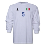 Italy 2014 FIFA World Cup Brazil(TM) Men's LS Number 5 T-Shirt (White)