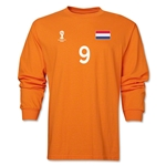 Netherlands 2014 FIFA World Cup Brazil(TM) Men's LS Number 9 T-Shirt (Orange)