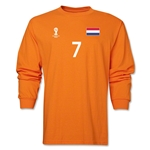 Netherlands 2014 FIFA World Cup Brazil(TM) Men's LS Number 7 T-Shirt (Orange)