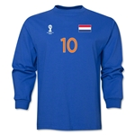 Netherlands 2014 FIFA World Cup Brazil(TM) Men's LS Number 10 T-Shirt (Royal)