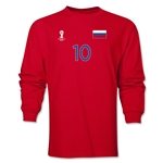 Russia 2014 FIFA World Cup Brazil(TM) Men's LS Number 10 T-Shirt (Red)