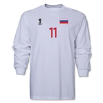 Russia 2014 FIFA World Cup Brazil(TM) Men's LS Number 11 T-Shirt (White)