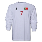Portugal 2014 FIFA World Cup Brazil(TM) Men's LS Number 7 T-Shirt (White)
