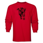 Manchester United Plaid Devil LS T-Shirt (Red)