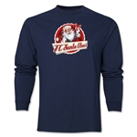 FC Santa Claus Animated Santa Men's LS T-Shirt (Navy)