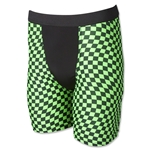 Men's Green Checkers Compression Short (Gr/Blk)