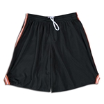 Mesh Lacrosse Shorts with Three-Stripe Braid (Blk/Orange)
