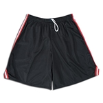 Mesh Lacrosse Shorts with Three-Stripe Braid (Blk/Red)