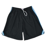 Mesh Lacrosse Shorts with Three-Stripe Braid (Black/Sky)