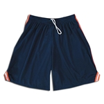 Mesh Lacrosse Shorts with Three-Stripe Braid (Nv/Orange)