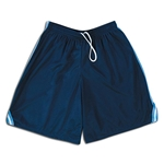Mesh Lacrosse Shorts with Three-Stripe Braid (Navy/Sky)