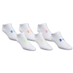 Under Armour Women's Heatgear Neon No Show Sock 6 Pair Pack (White)