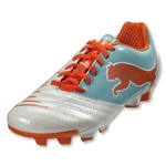 PUMA Women's PowerCat 4.12 FG (White/Pool Blue/Carrot)