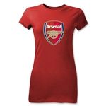 Arsenal Crest Junior Women's T-Shirt (Red)