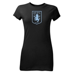 Aston Villa Crest Junior Women's T-Shirt (Black)