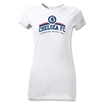 Chelsea FC Distressed Junior Women's T-Shirt (White)