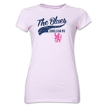 Chelsea The Blues Script Junior Women's T-Shirt (Pink)