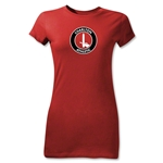 Charlton Athletic Crest Junior Women's T-Shirt (Red)