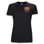 Barcelona Licensed Crest Junior Women's T-Shirt (Black)