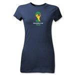 2014 FIFA World Cup Brazil(TM) Emblem Junior Women's T-Shirt (Navy)