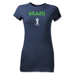 Brazil 2014 FIFA World Cup Brazil(TM) Junior Women's Core T-Shirt (Navy)