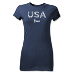 USA 2014 FIFA World Cup Brazil(TM) Junior Women's Elements T-Shirt (Navy)