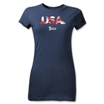 USA 2014 FIFA World Cup Brazil(TM) Junior Women's Palm T-Shirt (Navy)