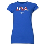 USA 2014 FIFA World Cup Brazil(TM) Junior Women's Palm T-Shirt (Royal)