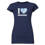 I Heart Uruguay 2014 FIFA World Cup Brazil(TM) Jr. Women's T-Shirt (Navy)
