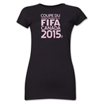 FIFA Women's World Cup Canada 2015(TM).Junior Women's French Logotype T-Shirt (Black)
