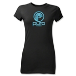 Puro Futebol Distressed Circle Logo Junior Women's T-Shirt (Black)