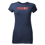 StandUp Red Logo Junior Women's T-Shirt (Navy)