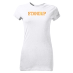 StandUp Orange Logo Junior Women's T-Shirt (White)