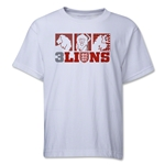 England Three Lions Geometric Youth T-Shirt (White)