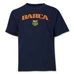 Barcelona Distressed Stripe Youth T-Shirt (Navy)